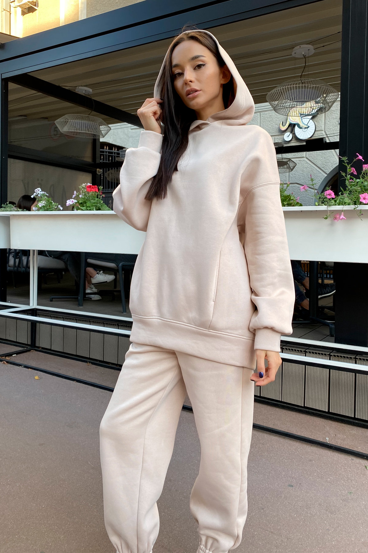 Марион костюм в  стиле Oversize  3х нитка 9651 АРТ. 45952 Цвет: св. бежевый - фото 4, интернет магазин tm-modus.ru