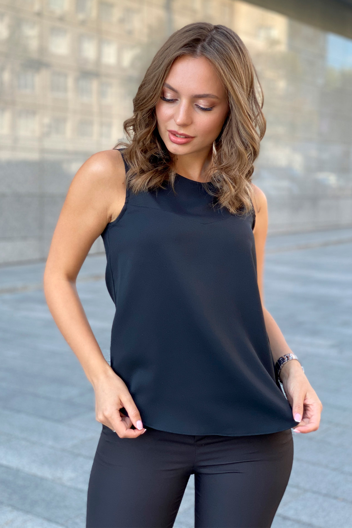Блуза База 9596 АРТ. 45950 Цвет: Черный - фото 5, интернет магазин tm-modus.ru