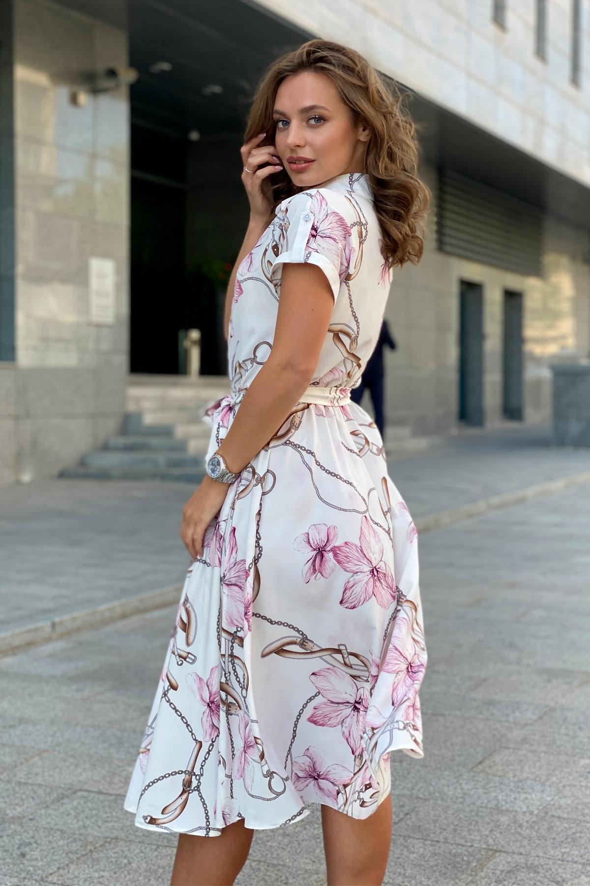 Платье Санжар 9090 АРТ. 45966 Цвет: Цветы кр/цепи Молоко/пудра - фото 2, интернет магазин tm-modus.ru
