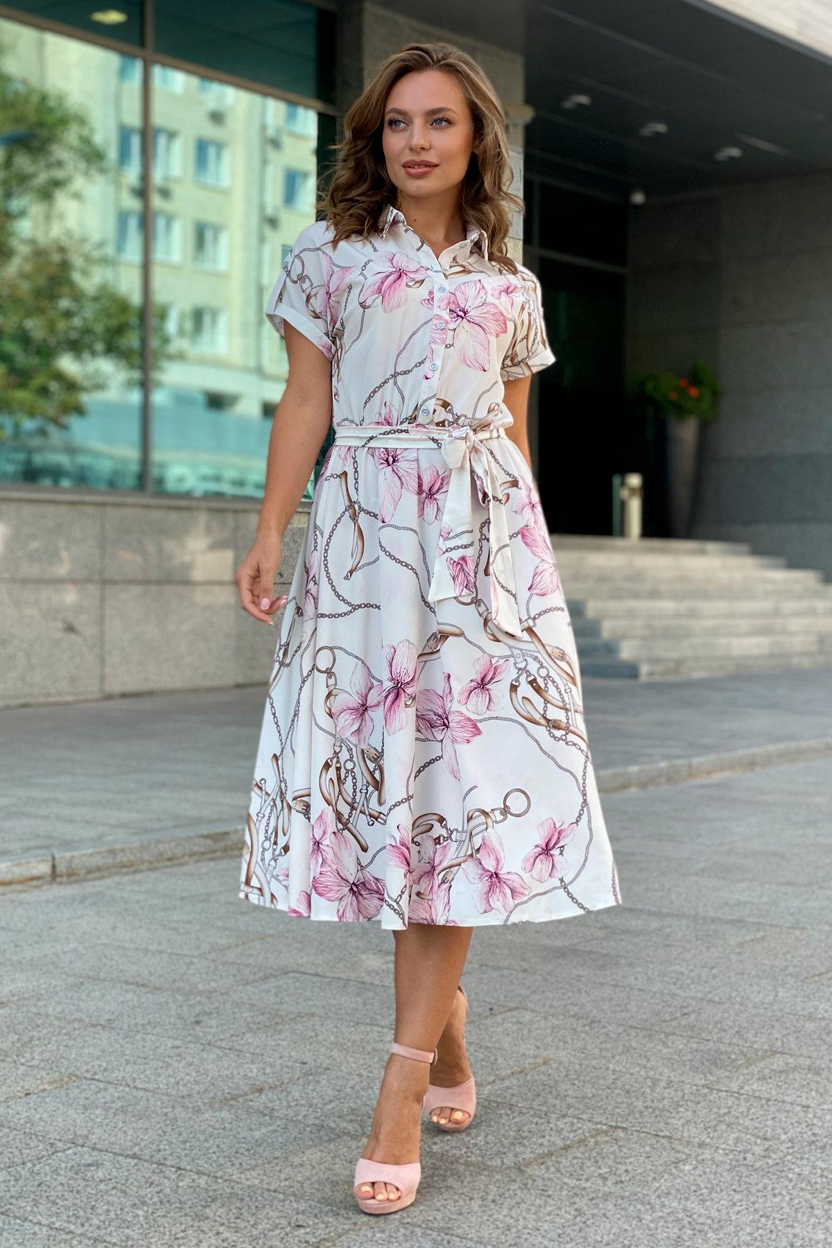 Платье Санжар 9090 АРТ. 45966 Цвет: Цветы кр/цепи Молоко/пудра - фото 5, интернет магазин tm-modus.ru