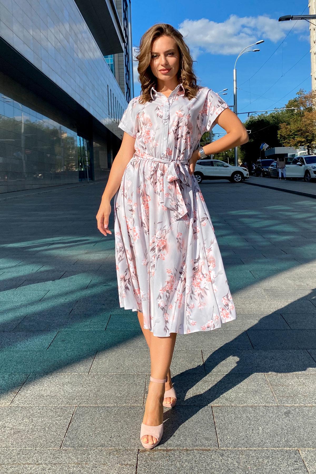Платье Санжар 9090 АРТ. 45968 Цвет: Цветы на ветке серый/пудра - фото 2, интернет магазин tm-modus.ru
