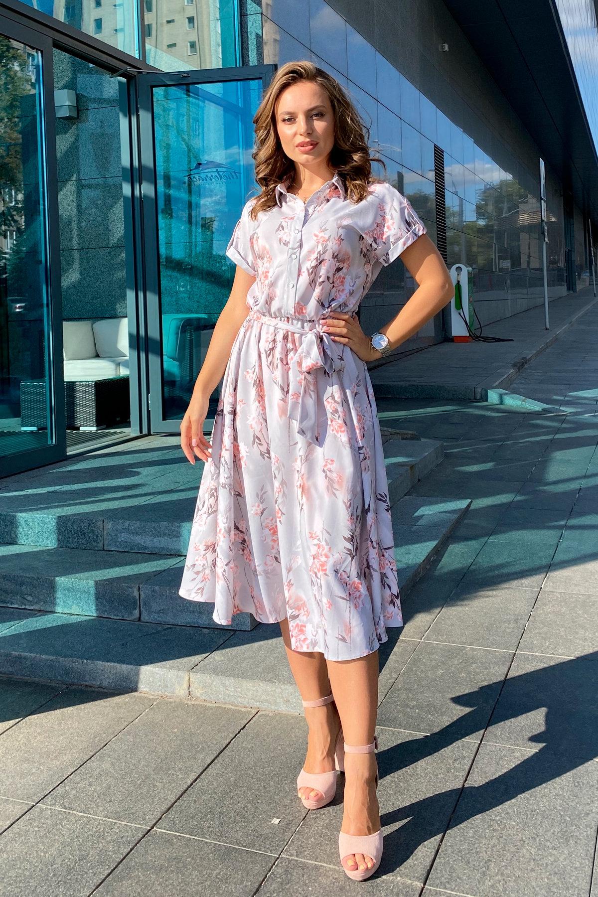Платье Санжар 9090 АРТ. 45968 Цвет: Цветы на ветке серый/пудра - фото 5, интернет магазин tm-modus.ru