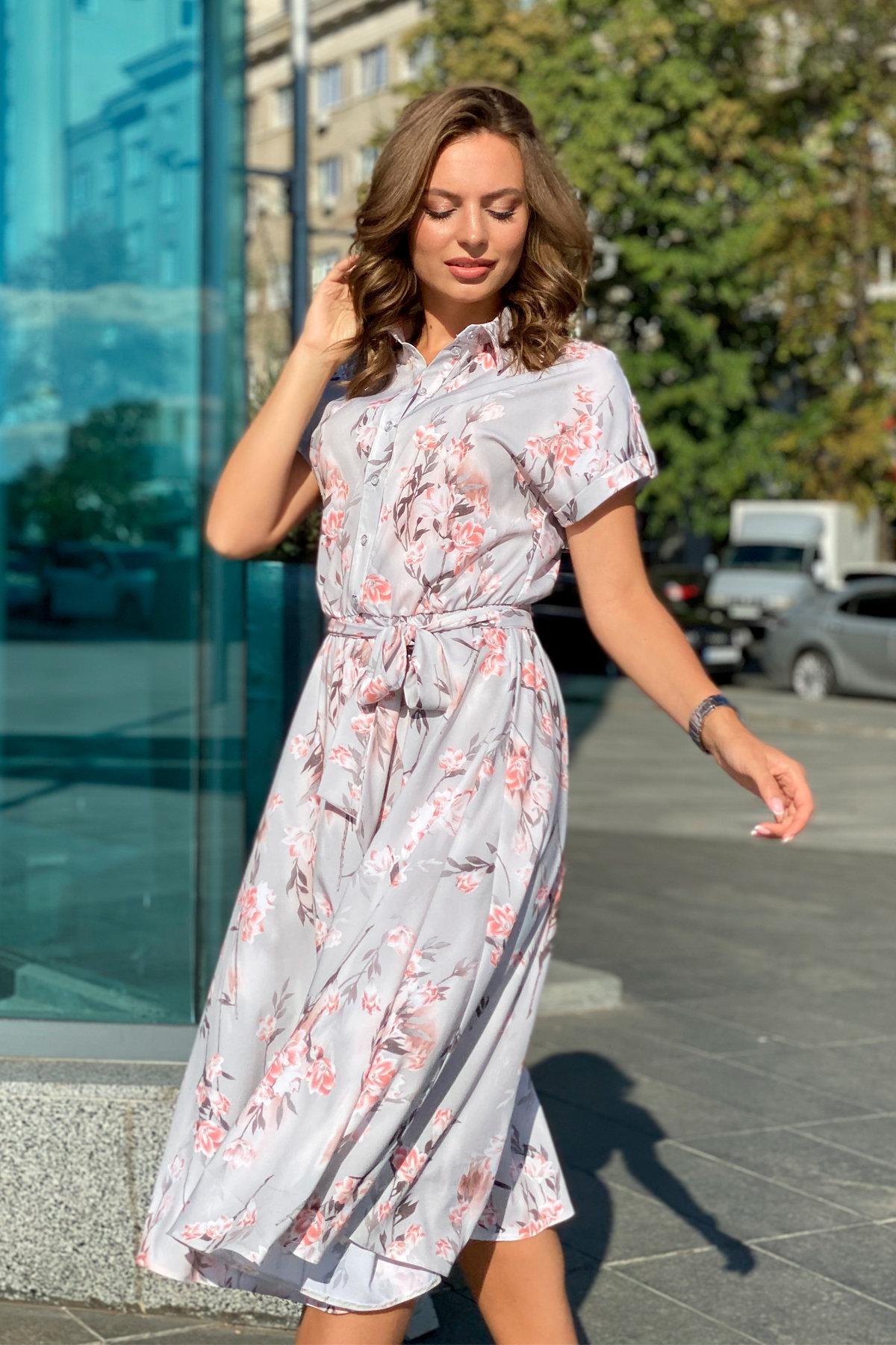 Платье Санжар 9090 АРТ. 45968 Цвет: Цветы на ветке серый/пудра - фото 6, интернет магазин tm-modus.ru