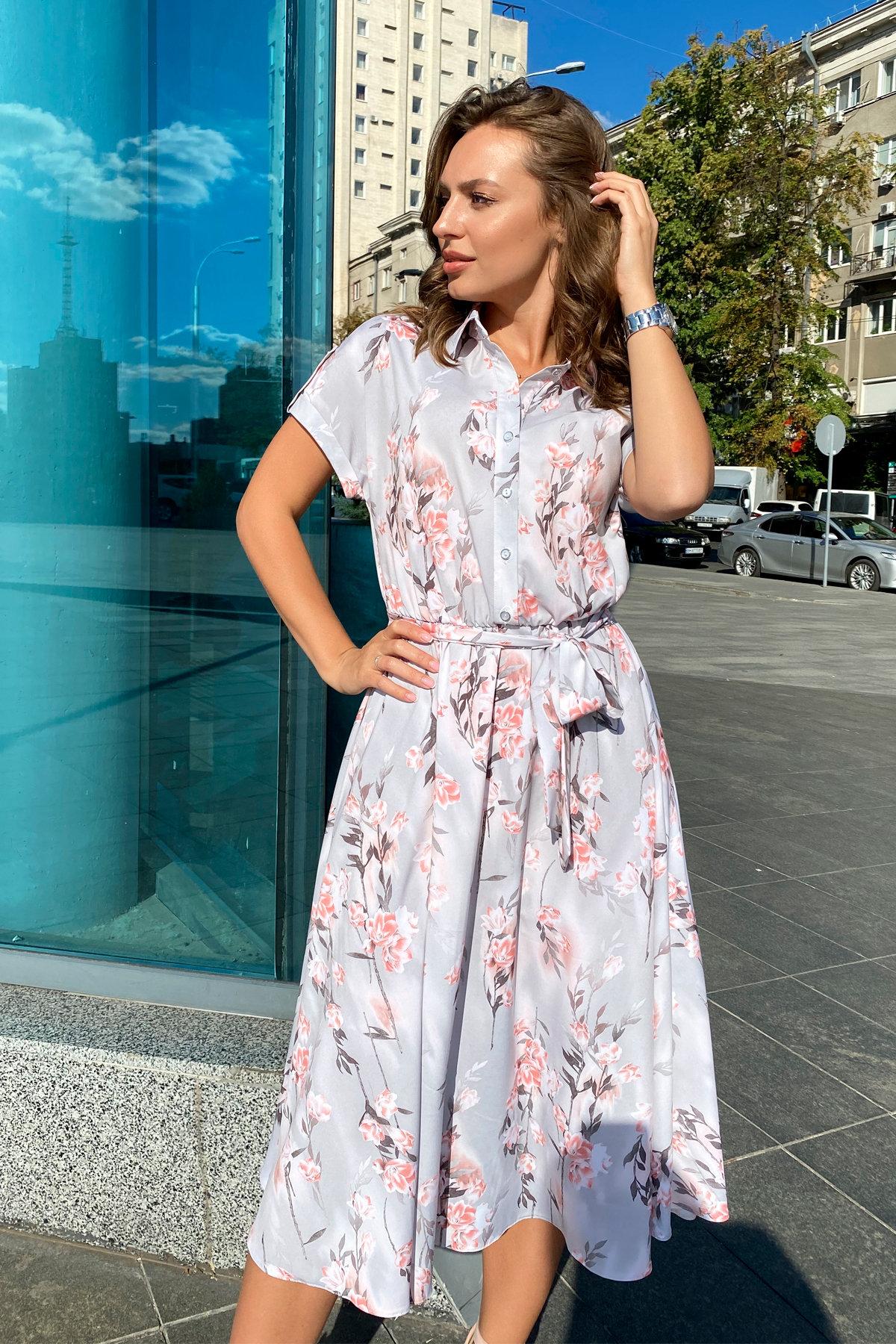 Платье Санжар 9090 АРТ. 45968 Цвет: Цветы на ветке серый/пудра - фото 7, интернет магазин tm-modus.ru