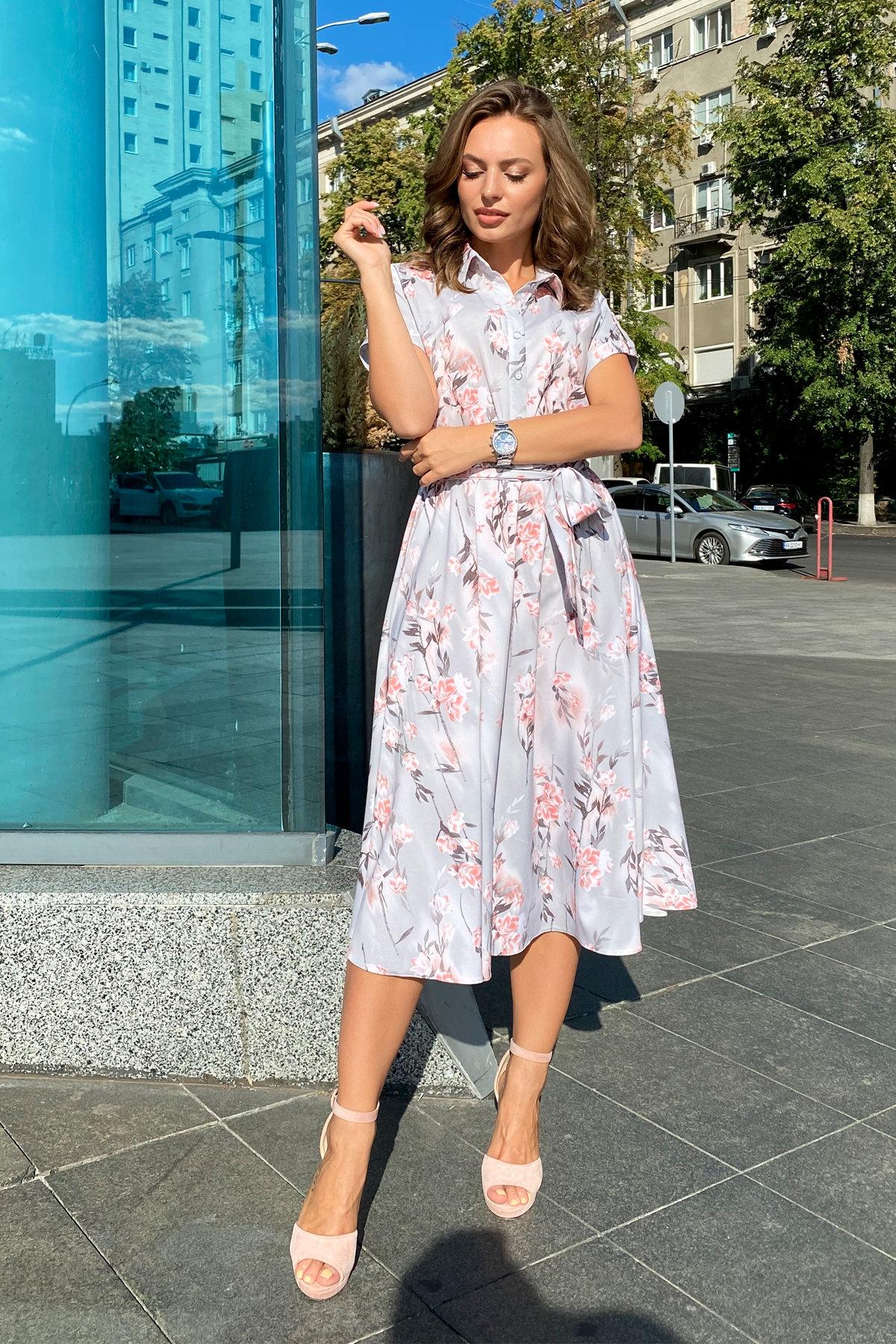 Платье Санжар 9090 АРТ. 45968 Цвет: Цветы на ветке серый/пудра - фото 8, интернет магазин tm-modus.ru