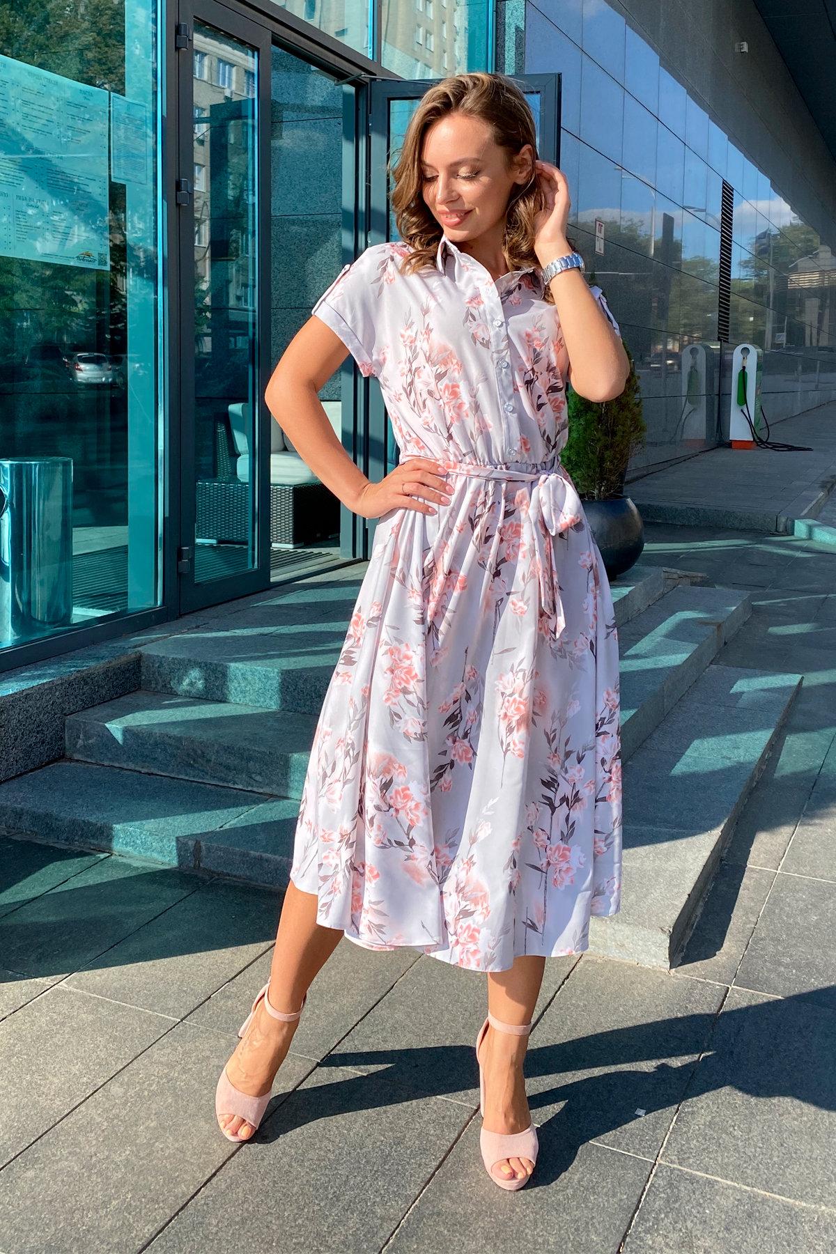 Платье Санжар 9090 АРТ. 45968 Цвет: Цветы на ветке серый/пудра - фото 9, интернет магазин tm-modus.ru