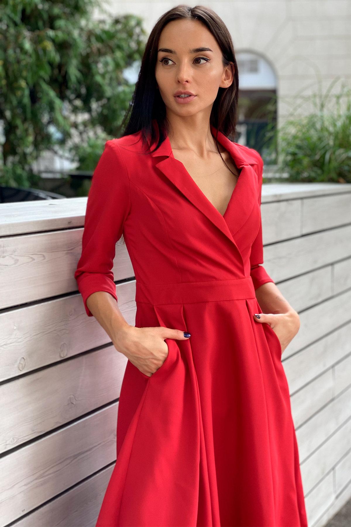 Платье в офис Артего 7832 АРТ. 43767 Цвет: Красный 4 - фото 8, интернет магазин tm-modus.ru