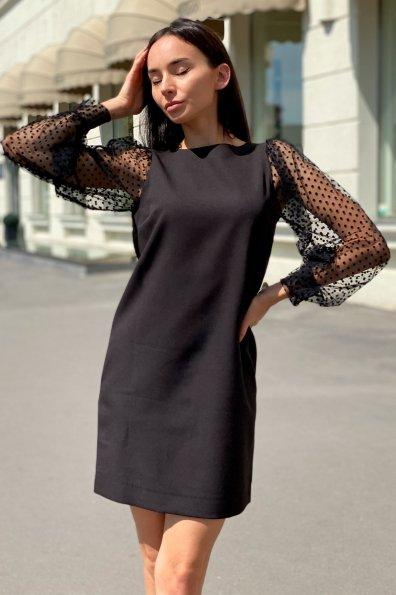 Купить Висконти Костюмка креп стрейч + сетка флок Горох средний платье 8978 оптом и в розницу