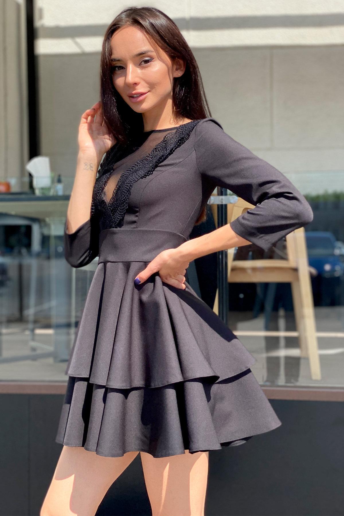 Платье с двухслойной юбкой Абико 5516 АРТ. 37044 Цвет: Черный - фото 1, интернет магазин tm-modus.ru