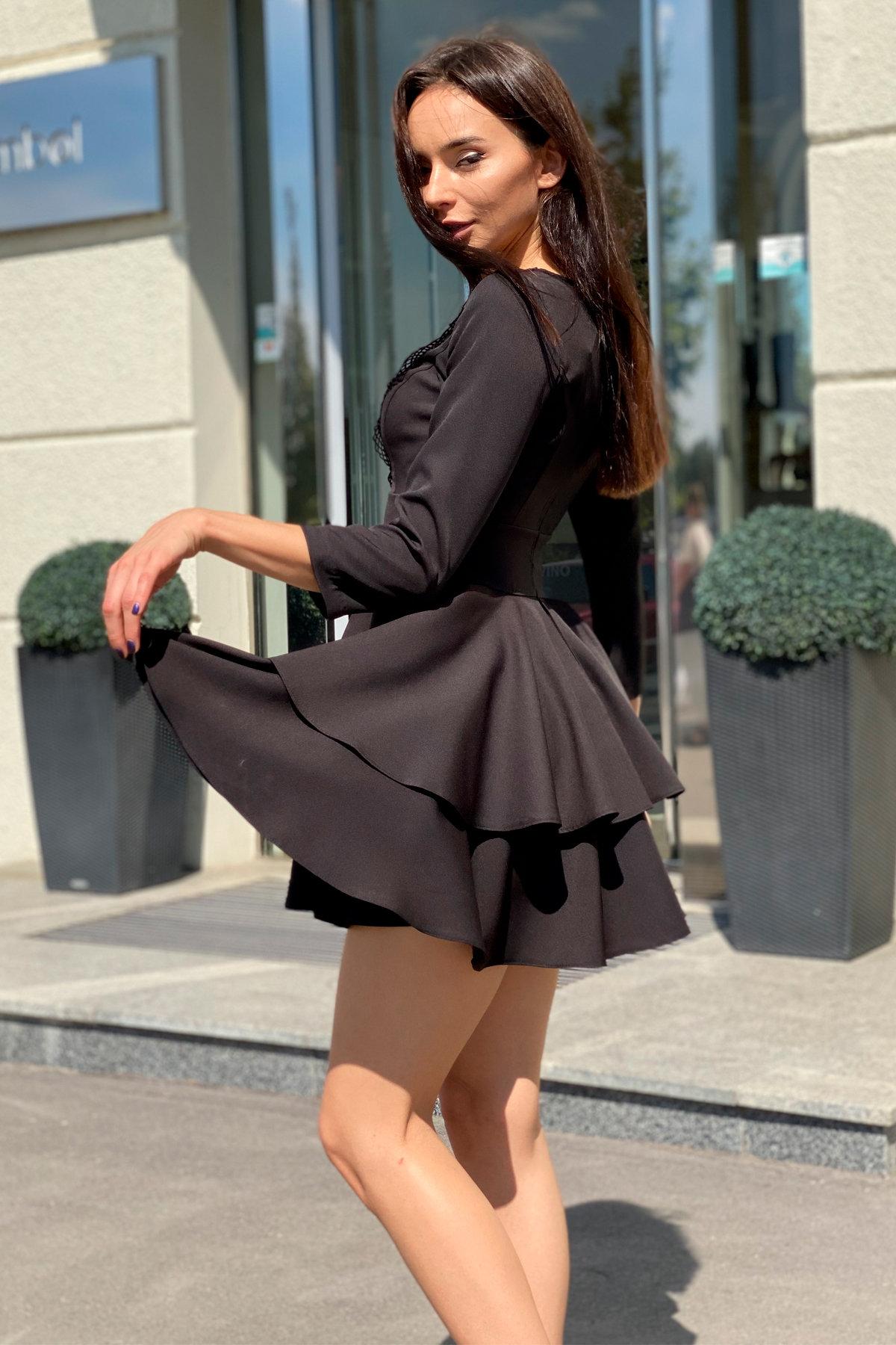 Платье с двухслойной юбкой Абико 5516 АРТ. 37044 Цвет: Черный - фото 2, интернет магазин tm-modus.ru