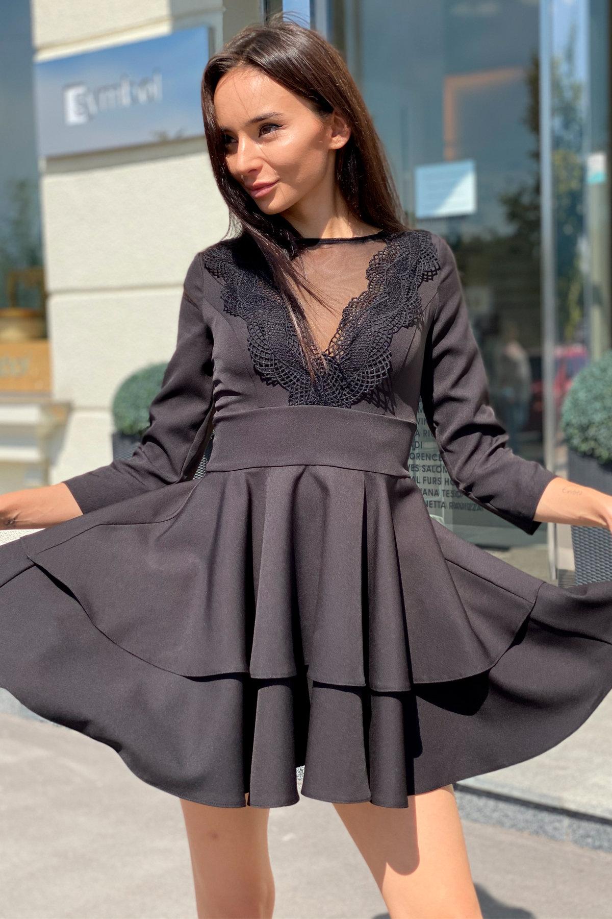 Платье с двухслойной юбкой Абико 5516 АРТ. 37044 Цвет: Черный - фото 5, интернет магазин tm-modus.ru
