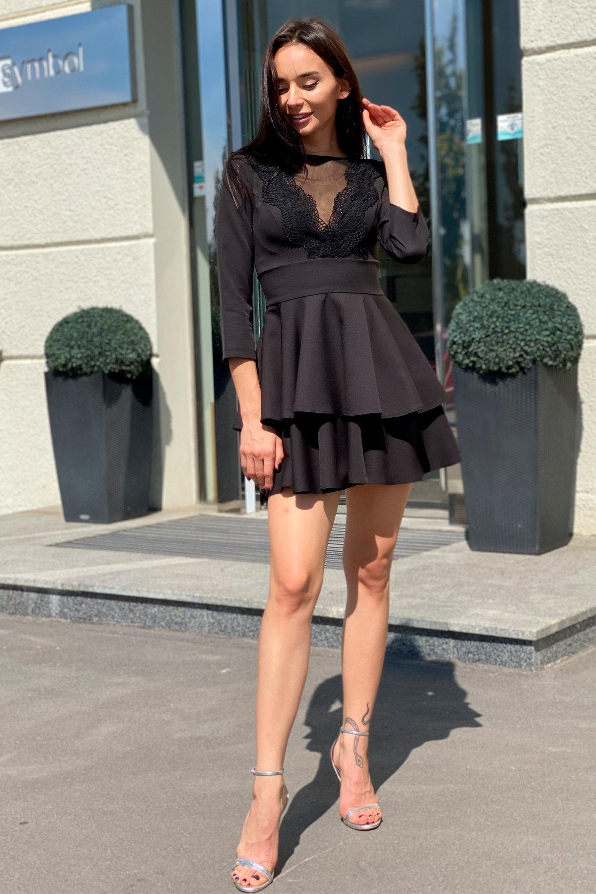 Платье с двухслойной юбкой Абико 5516 АРТ. 37044 Цвет: Черный - фото 6, интернет магазин tm-modus.ru