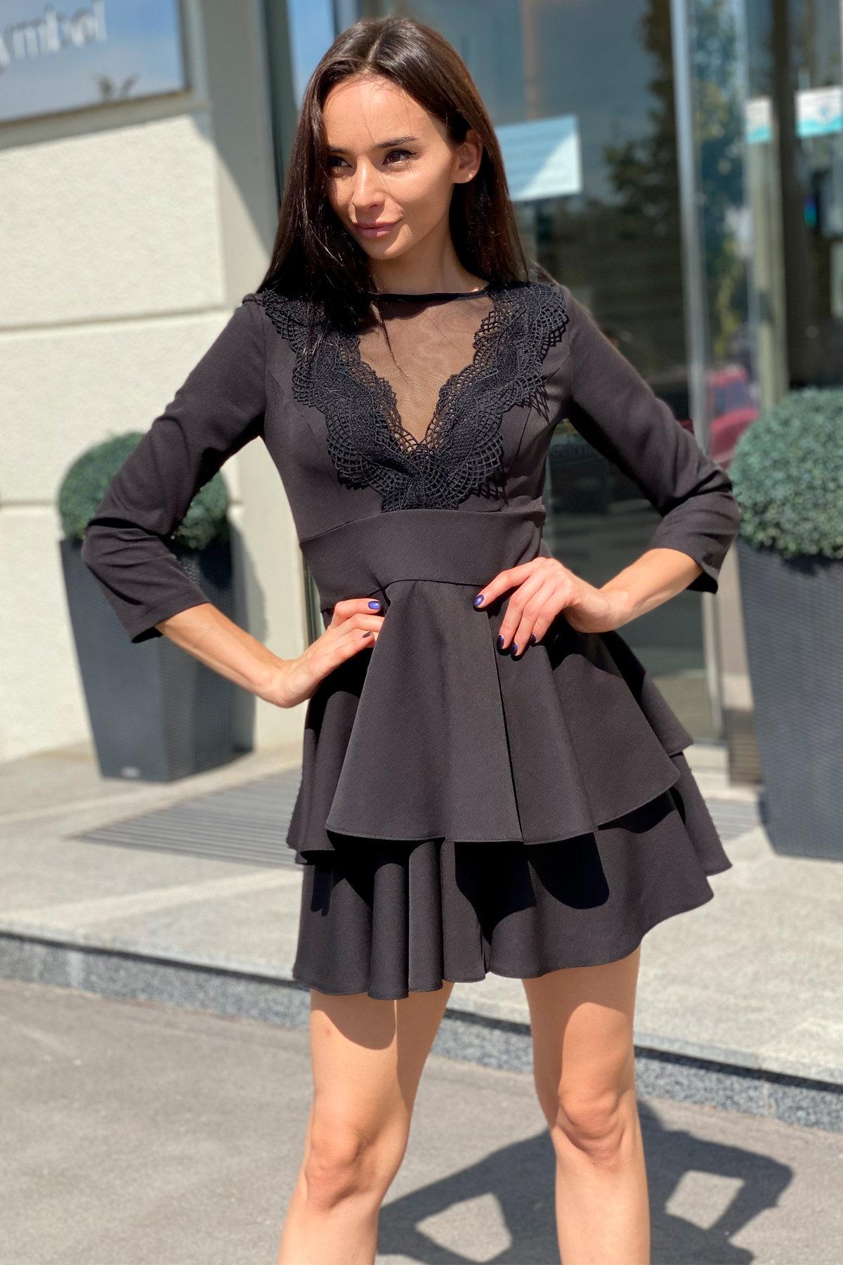 Платье с двухслойной юбкой Абико 5516 АРТ. 37044 Цвет: Черный - фото 7, интернет магазин tm-modus.ru