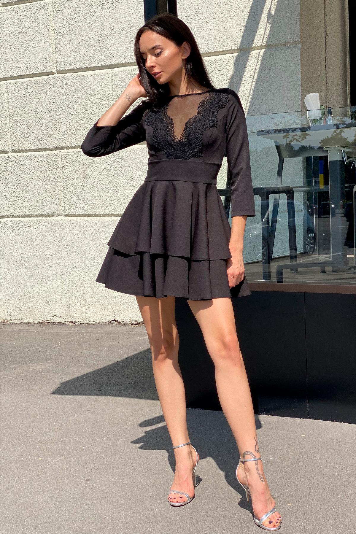 Платье с двухслойной юбкой Абико 5516 АРТ. 37044 Цвет: Черный - фото 8, интернет магазин tm-modus.ru