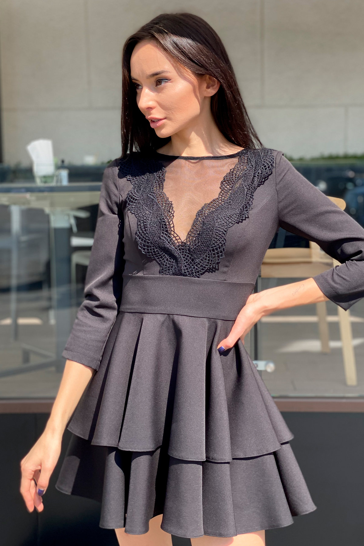 Платье с двухслойной юбкой Абико 5516 АРТ. 37044 Цвет: Черный - фото 9, интернет магазин tm-modus.ru