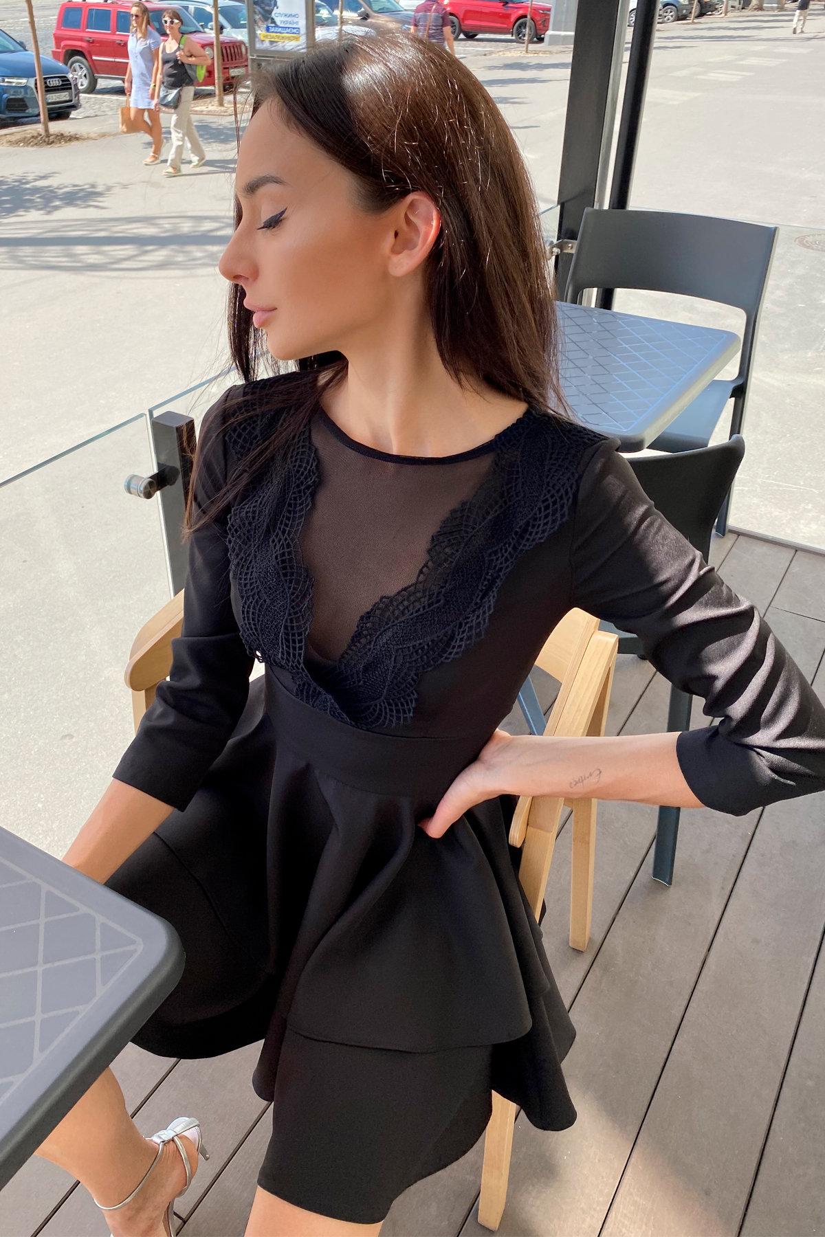 Платье с двухслойной юбкой Абико 5516 АРТ. 37044 Цвет: Черный - фото 3, интернет магазин tm-modus.ru