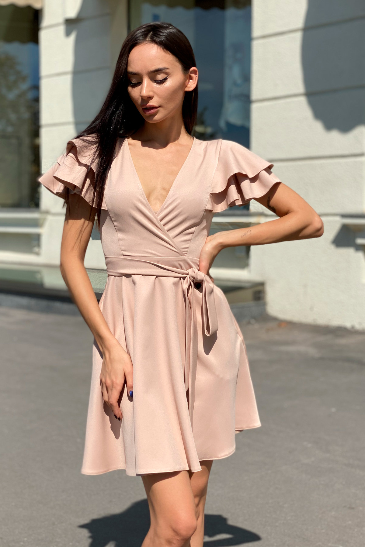 Платье Милея 9649 АРТ. 45969 Цвет: Бежевый - фото 4, интернет магазин tm-modus.ru