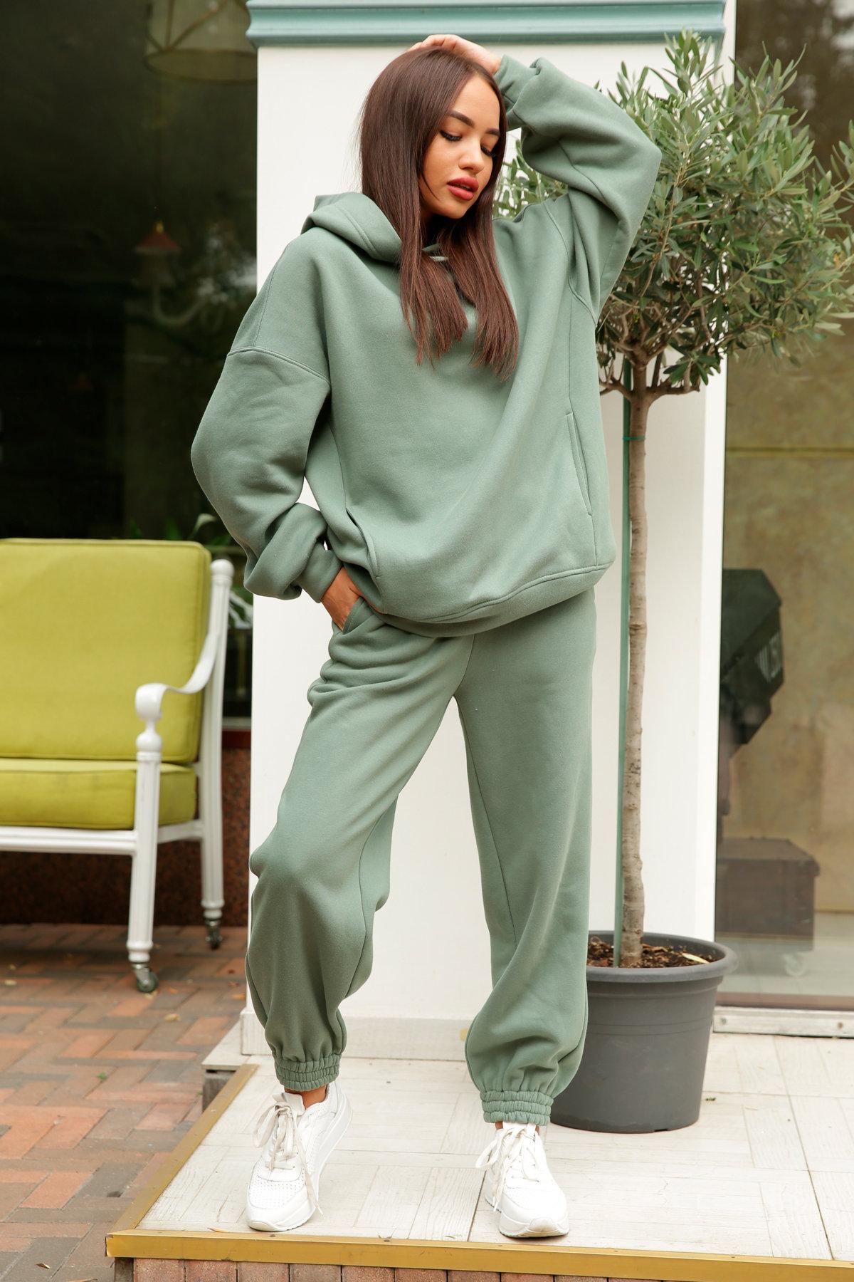 Марион костюм в  стиле Oversize  3х нитка 9651 АРТ. 46056 Цвет: Олива Темная - фото 3, интернет магазин tm-modus.ru