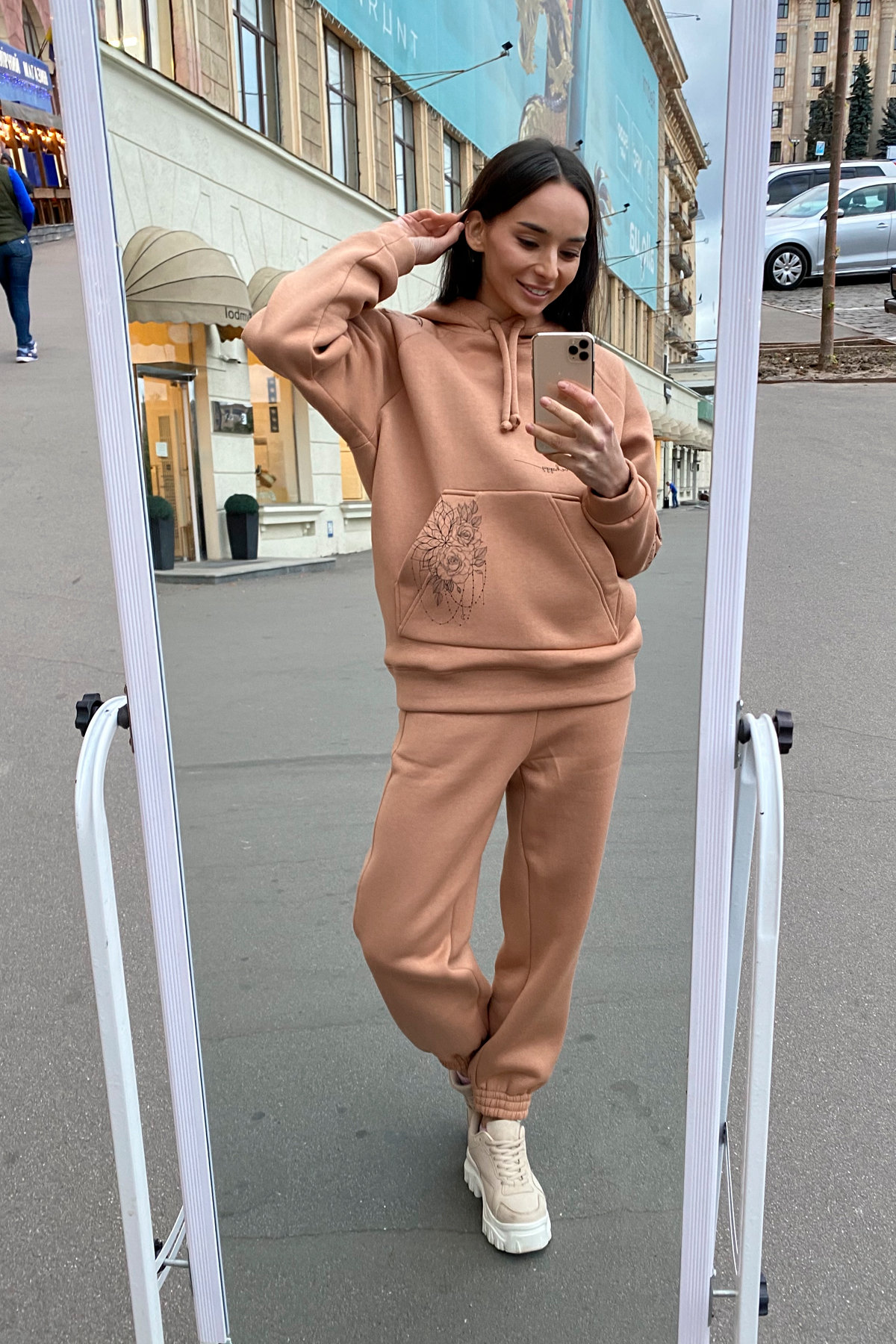 Тату костюм на флисе Oversize 9815 АРТ. 46099 Цвет: Кемел - фото 1, интернет магазин tm-modus.ru