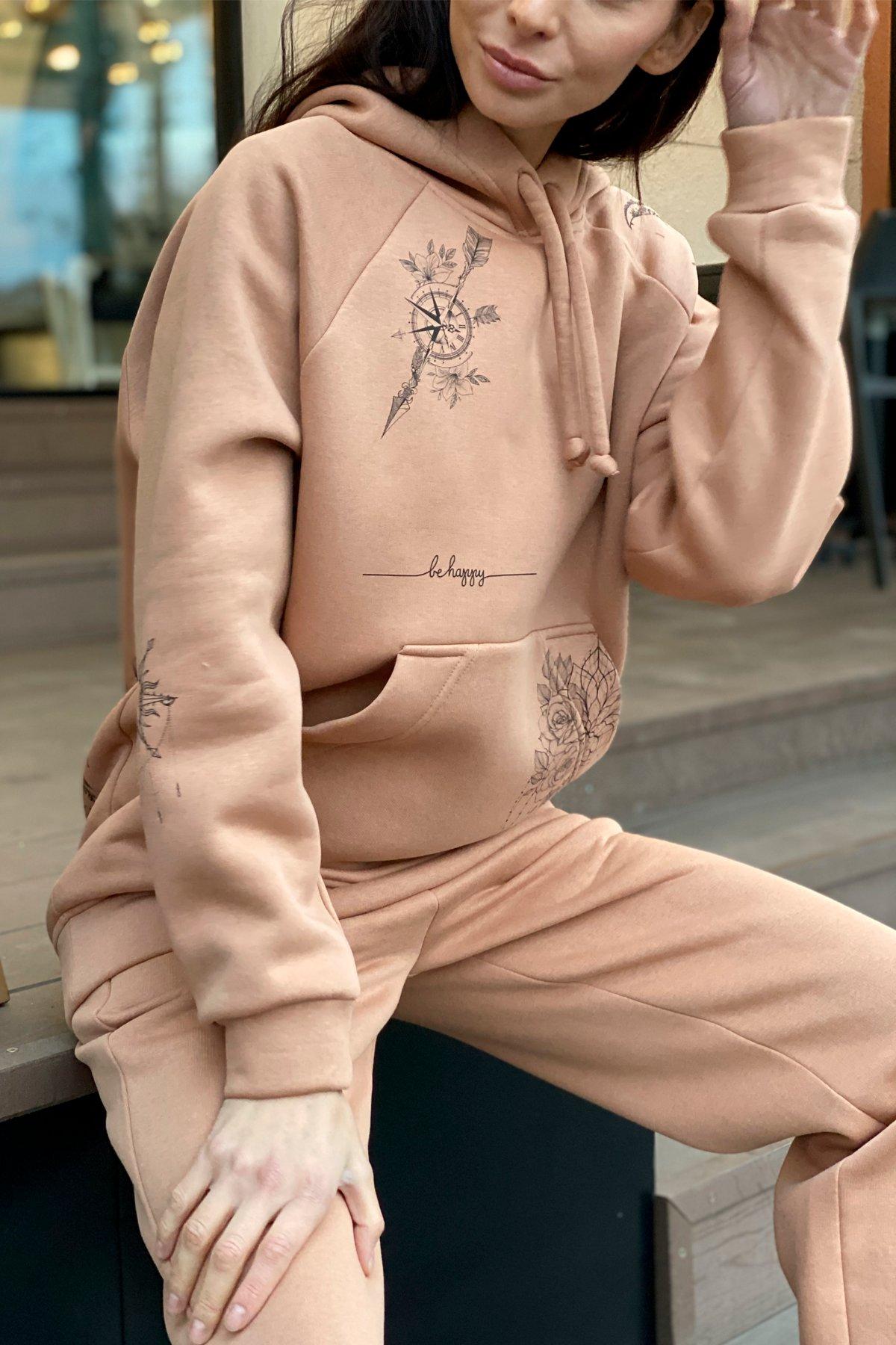 Тату костюм на флисе Oversize 9815 АРТ. 46099 Цвет: Кемел - фото 3, интернет магазин tm-modus.ru