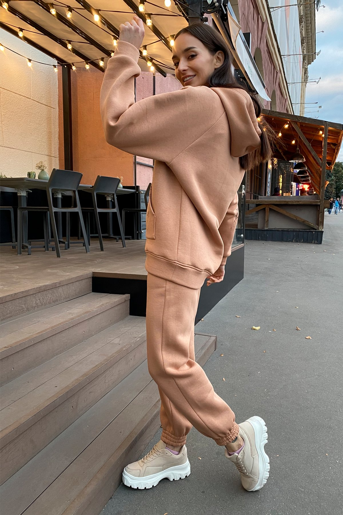 Тату костюм на флисе Oversize 9815 АРТ. 46099 Цвет: Кемел - фото 5, интернет магазин tm-modus.ru