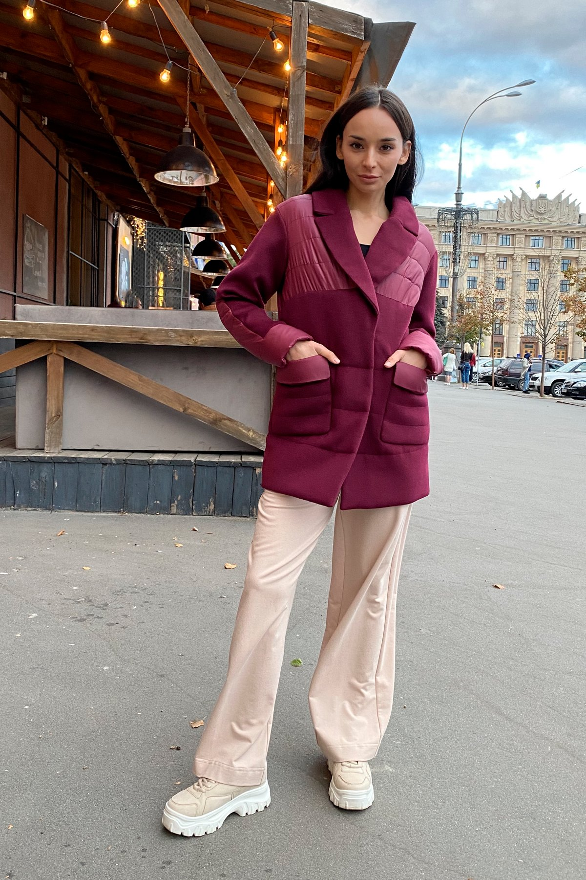 Комбинированное пальто Лакс 8830 Цвет: Марсала