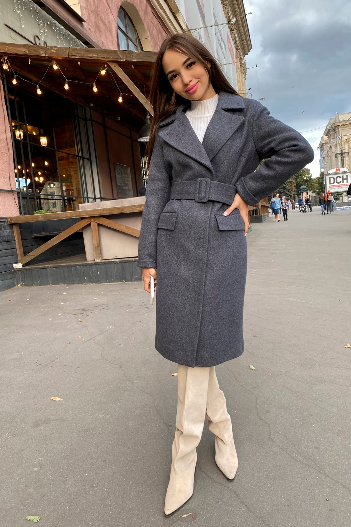 Зимнее пальто с отложным воротником Моле 8085 АРТ. 44036 Цвет: Т.синий 543 - фото 2, интернет магазин tm-modus.ru