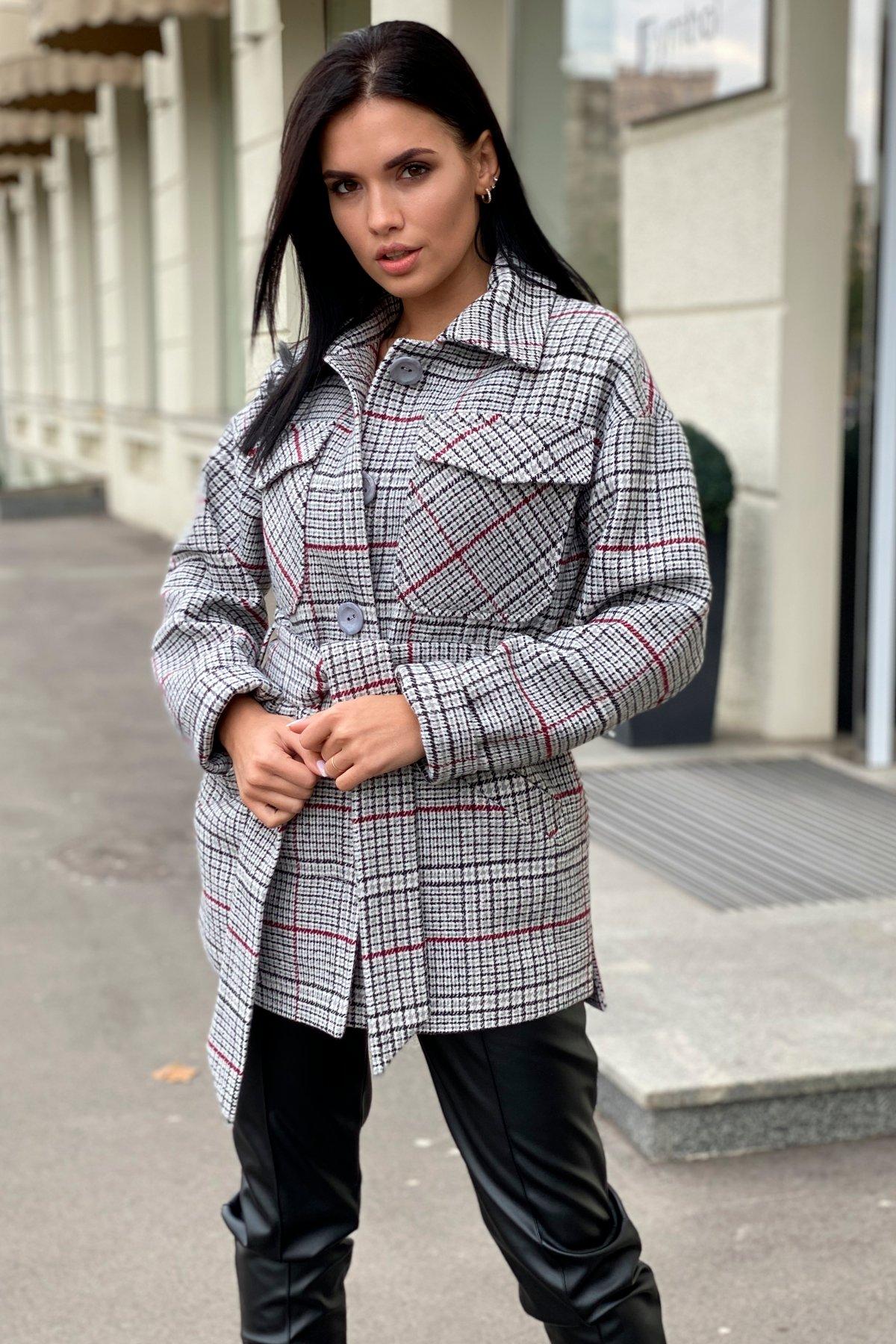 Энрике клетка крупная пальтовая ткань пальто 9036 АРТ. 46157 Цвет: Комби Черный/серый/винный - фото 1, интернет магазин tm-modus.ru