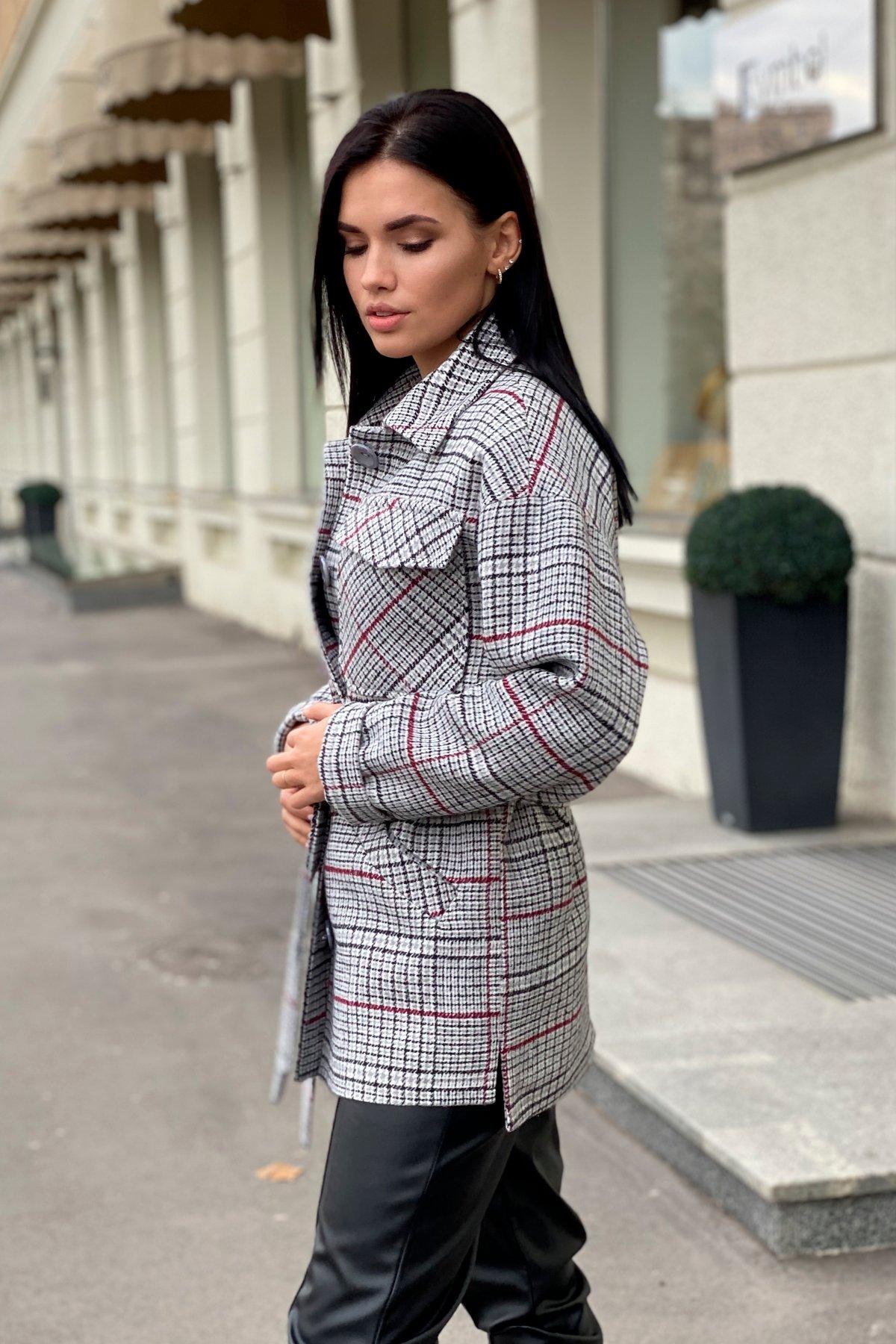 Энрике клетка крупная пальтовая ткань пальто 9036 АРТ. 46157 Цвет: Комби Черный/серый/винный - фото 3, интернет магазин tm-modus.ru