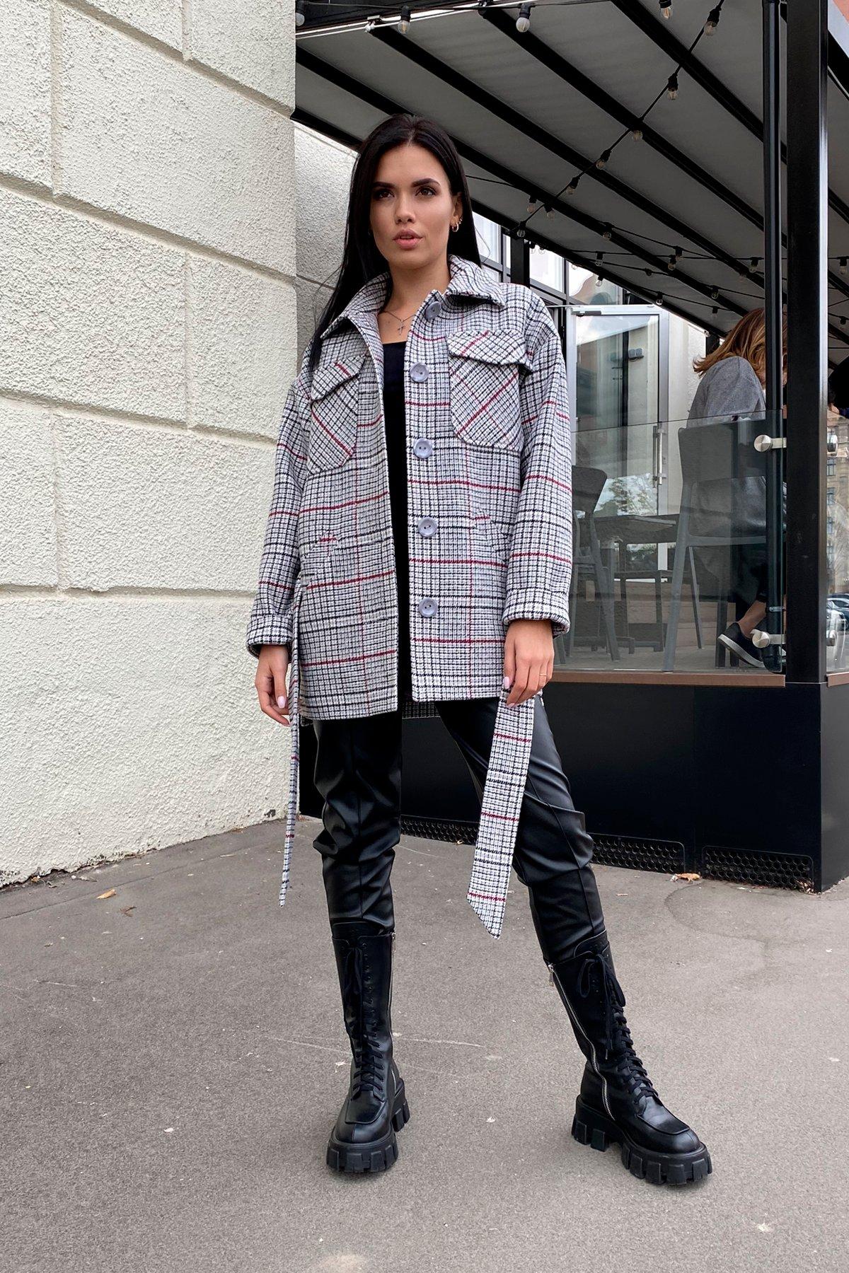 Энрике клетка крупная пальтовая ткань пальто 9036 АРТ. 46157 Цвет: Комби Черный/серый/винный - фото 4, интернет магазин tm-modus.ru