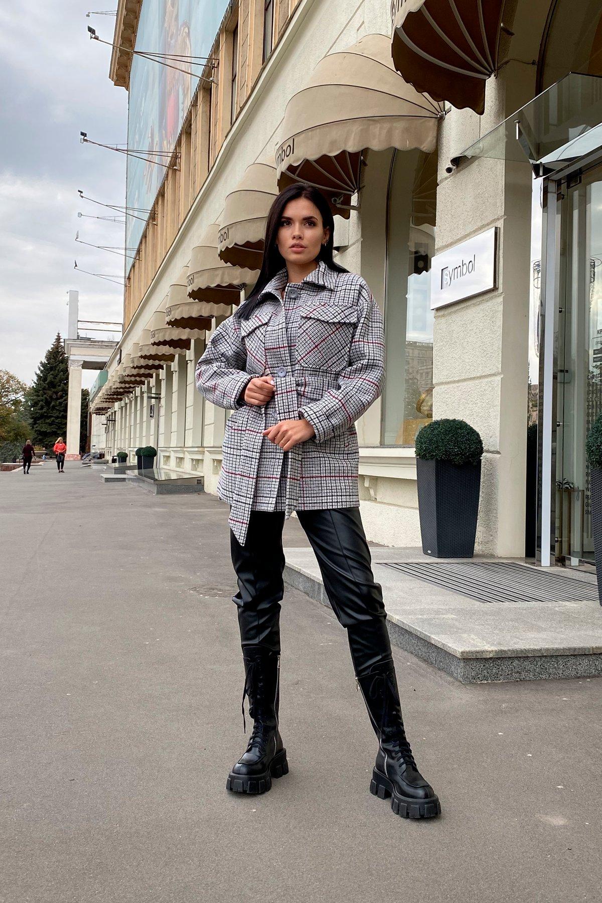 Энрике клетка крупная пальтовая ткань пальто 9036 АРТ. 46157 Цвет: Комби Черный/серый/винный - фото 7, интернет магазин tm-modus.ru