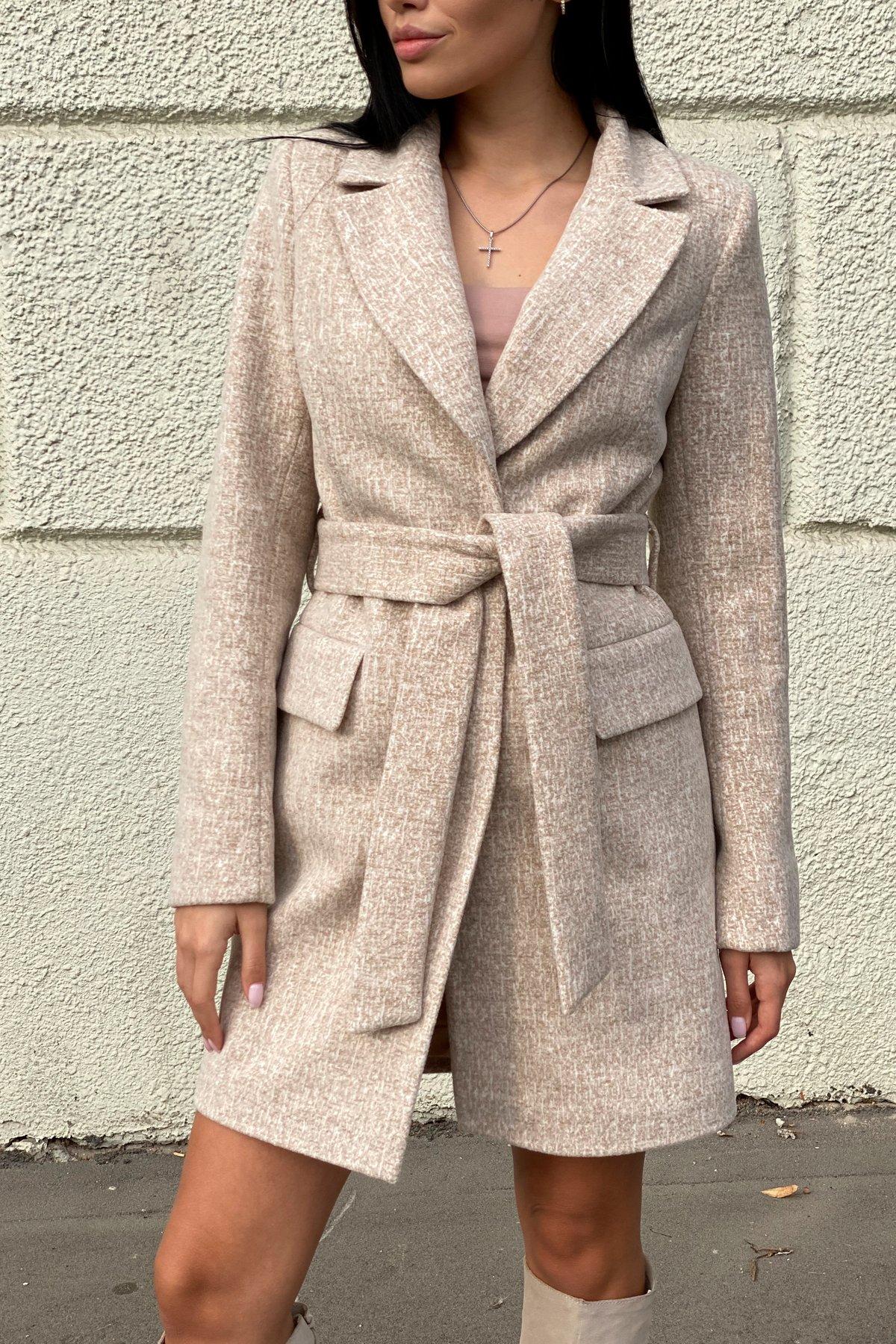 Корси кашемир меланж на трикотаже текстурный пальто 9878 АРТ. 46165 Цвет: Бежевый/молоко - фото 1, интернет магазин tm-modus.ru