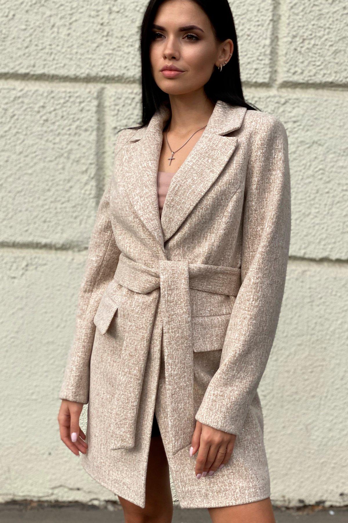 Корси кашемир меланж на трикотаже текстурный пальто 9878 АРТ. 46165 Цвет: Бежевый/молоко - фото 2, интернет магазин tm-modus.ru