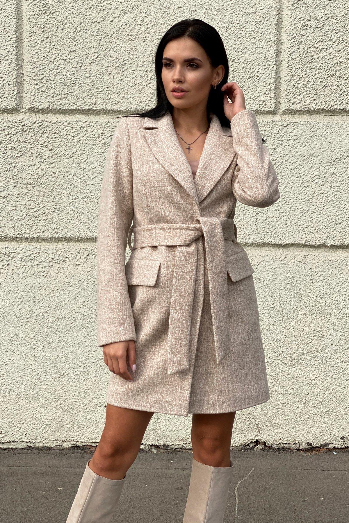 Корси кашемир меланж на трикотаже текстурный пальто 9878 АРТ. 46165 Цвет: Бежевый/молоко - фото 3, интернет магазин tm-modus.ru