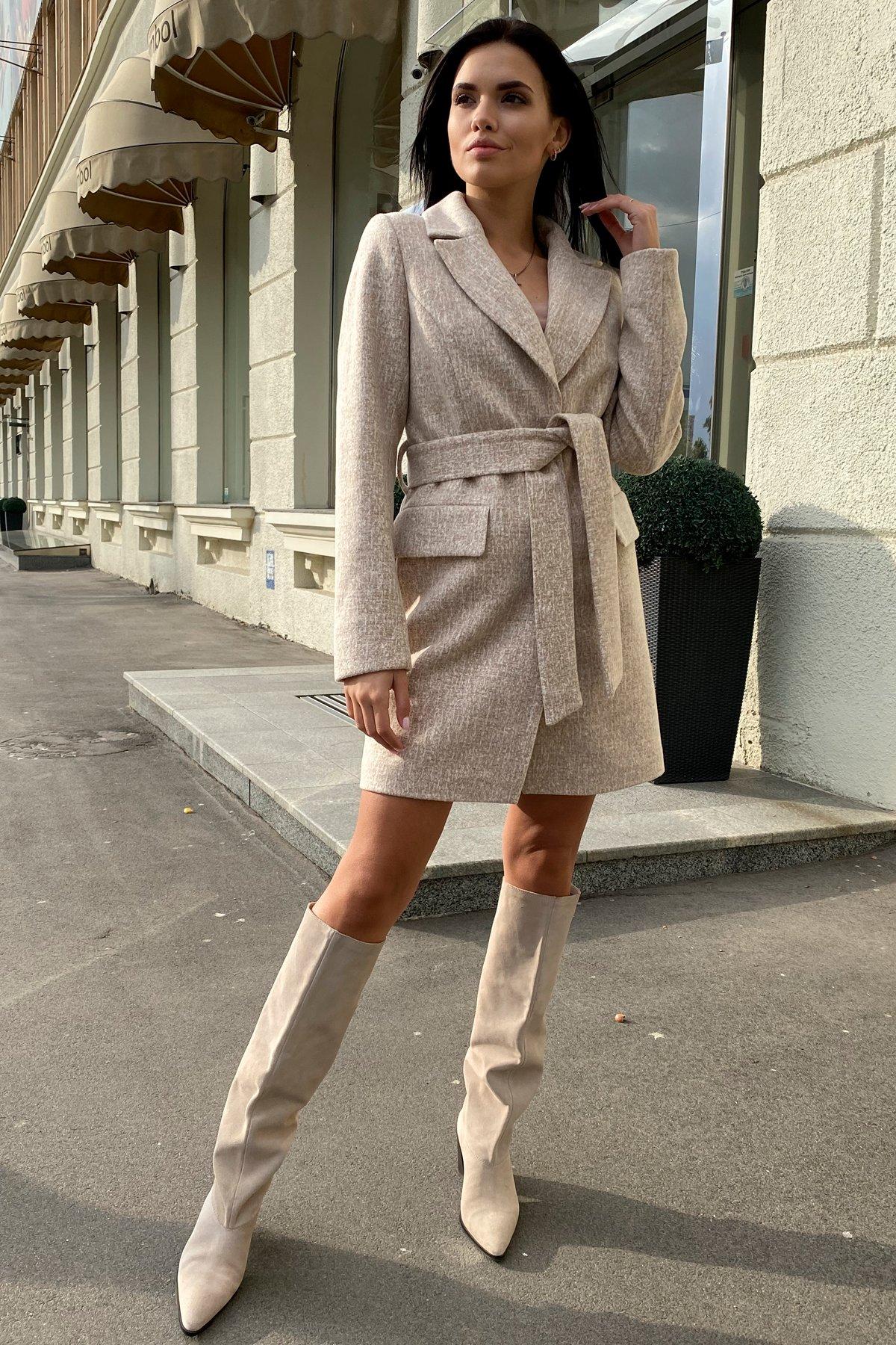 Корси кашемир меланж на трикотаже текстурный пальто 9878 АРТ. 46165 Цвет: Бежевый/молоко - фото 4, интернет магазин tm-modus.ru