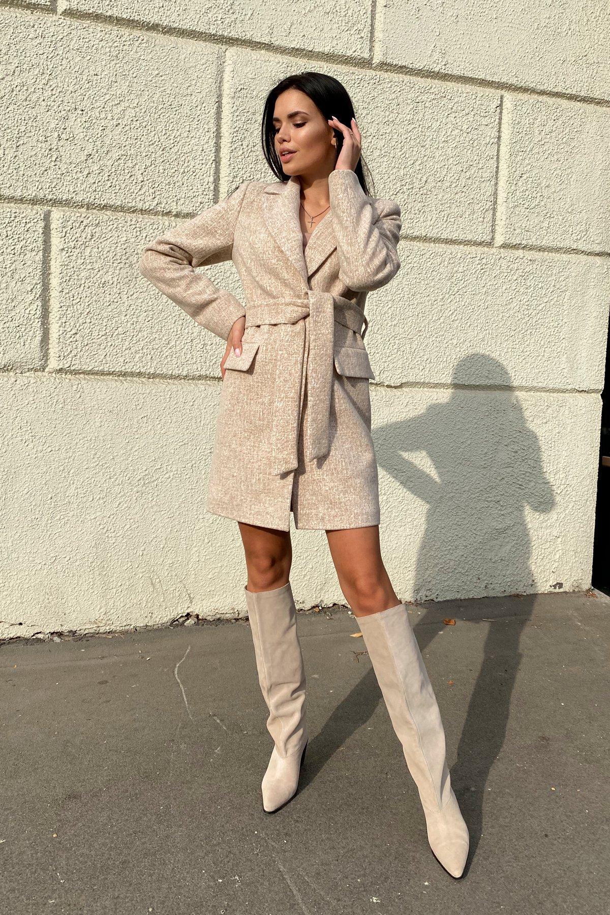 Корси кашемир меланж на трикотаже текстурный пальто 9878 АРТ. 46165 Цвет: Бежевый/молоко - фото 5, интернет магазин tm-modus.ru