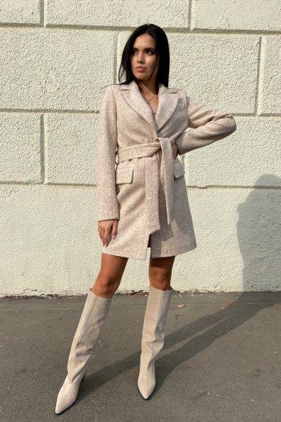 Корси кашемир меланж на трикотаже текстурный пальто 9878