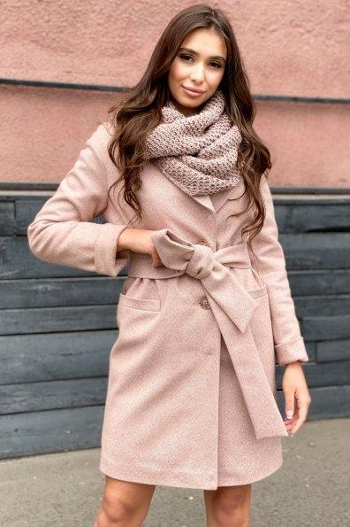 Зимнее утепленное пальто диагональ Вива 8243 Цвет: Бежевый