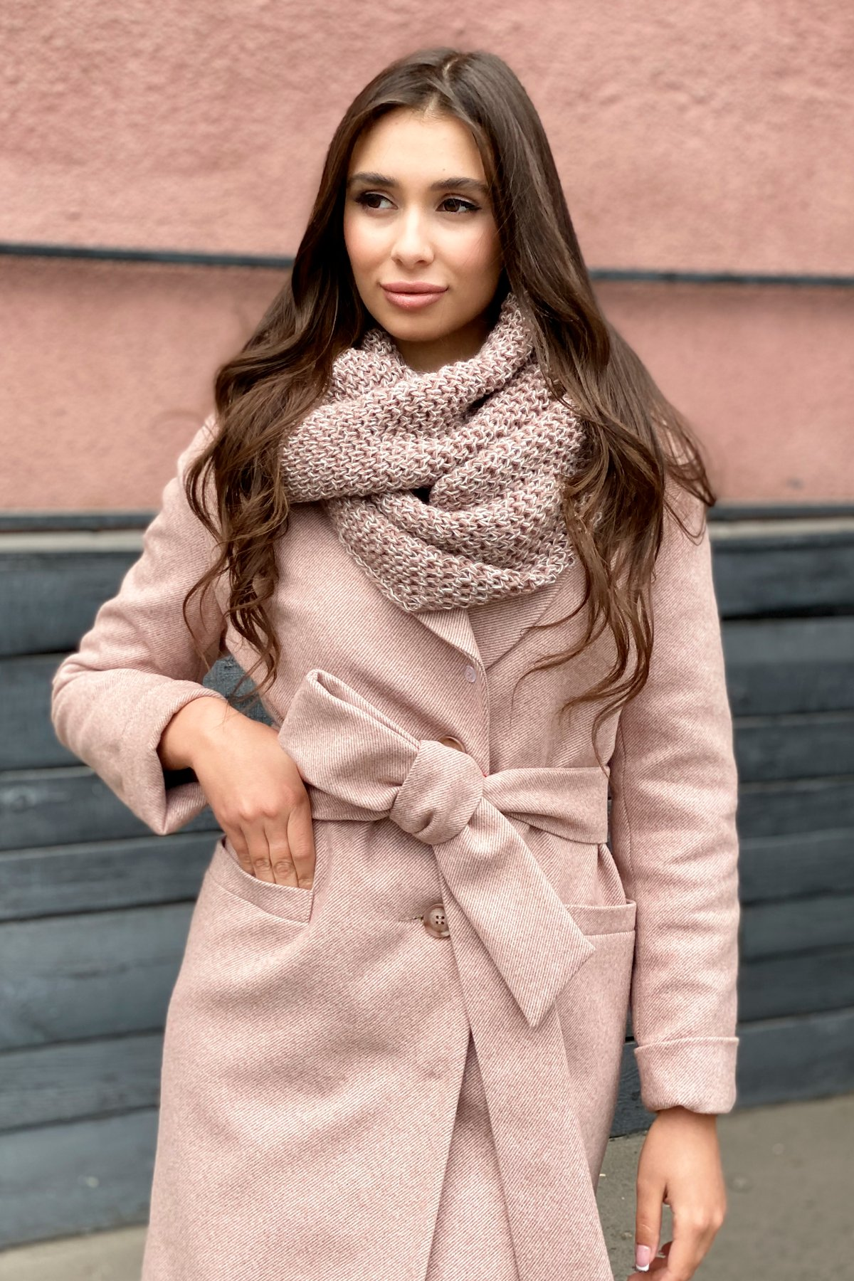 Зимнее утепленное пальто диагональ Вива 8243 АРТ. 44280 Цвет: Бежевый - фото 3, интернет магазин tm-modus.ru