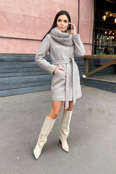 Зимнее пальто с круговым шарфом  Сплит 8406 Цвет: Бежевый 31