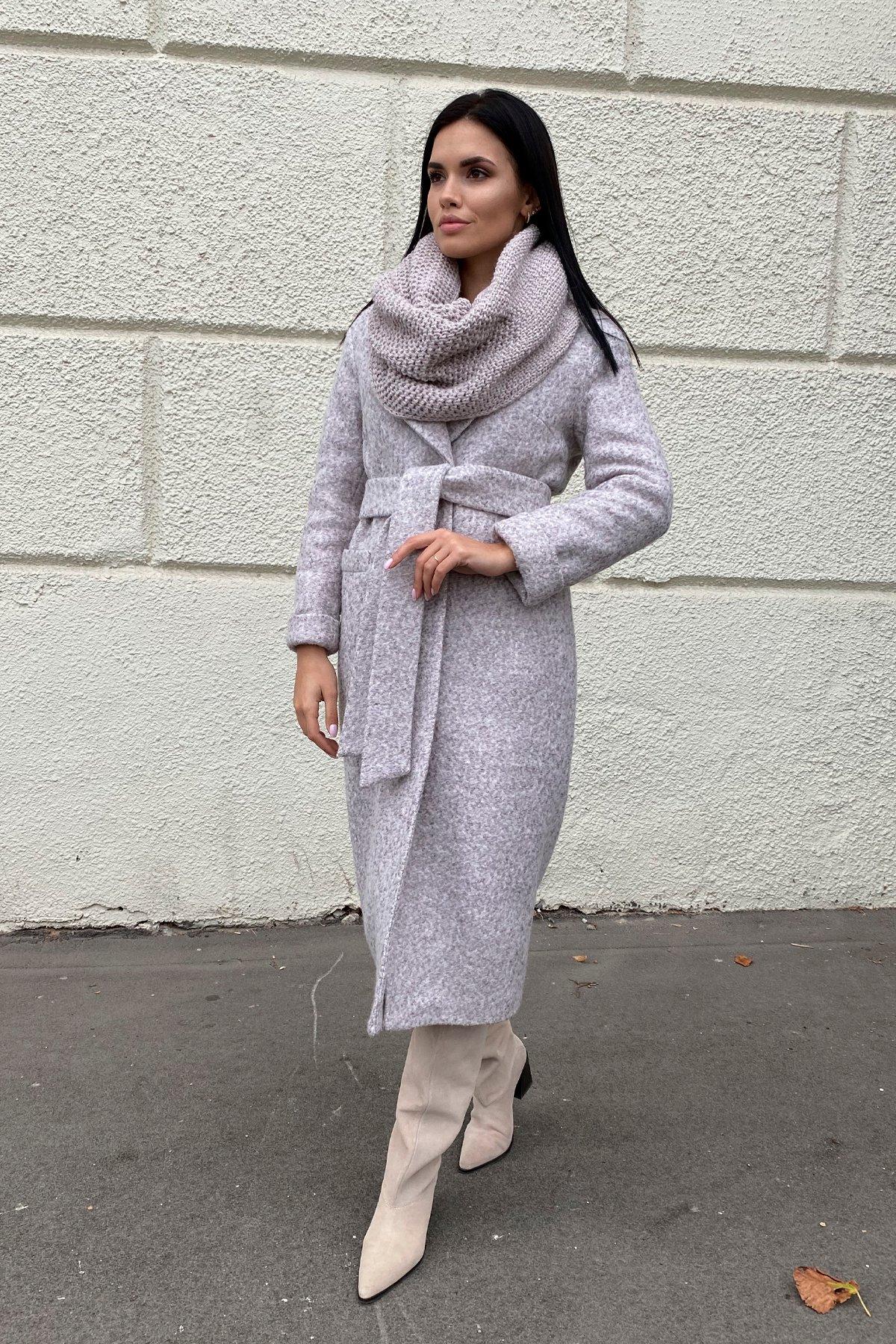 Теплое зимнее пальто буклированная шерсть Вива макси 8349 Цвет: Серый/бежевый 24
