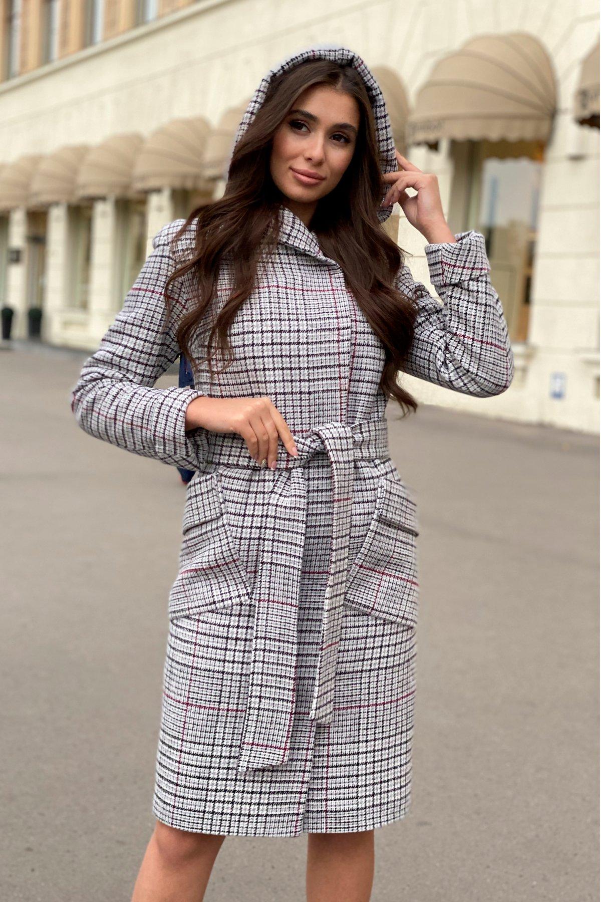 Зимнее пальто в Украине Зимнее пальто в стильную клетку Анджи 8276