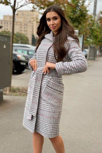 Зимнее пальто в стильную клетку Анджи 8276 Цвет: Клетка кр черн/сер/вин