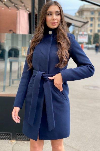 Пальто зима с хомутом Люцея 8211 Цвет: Т.синий Н-14