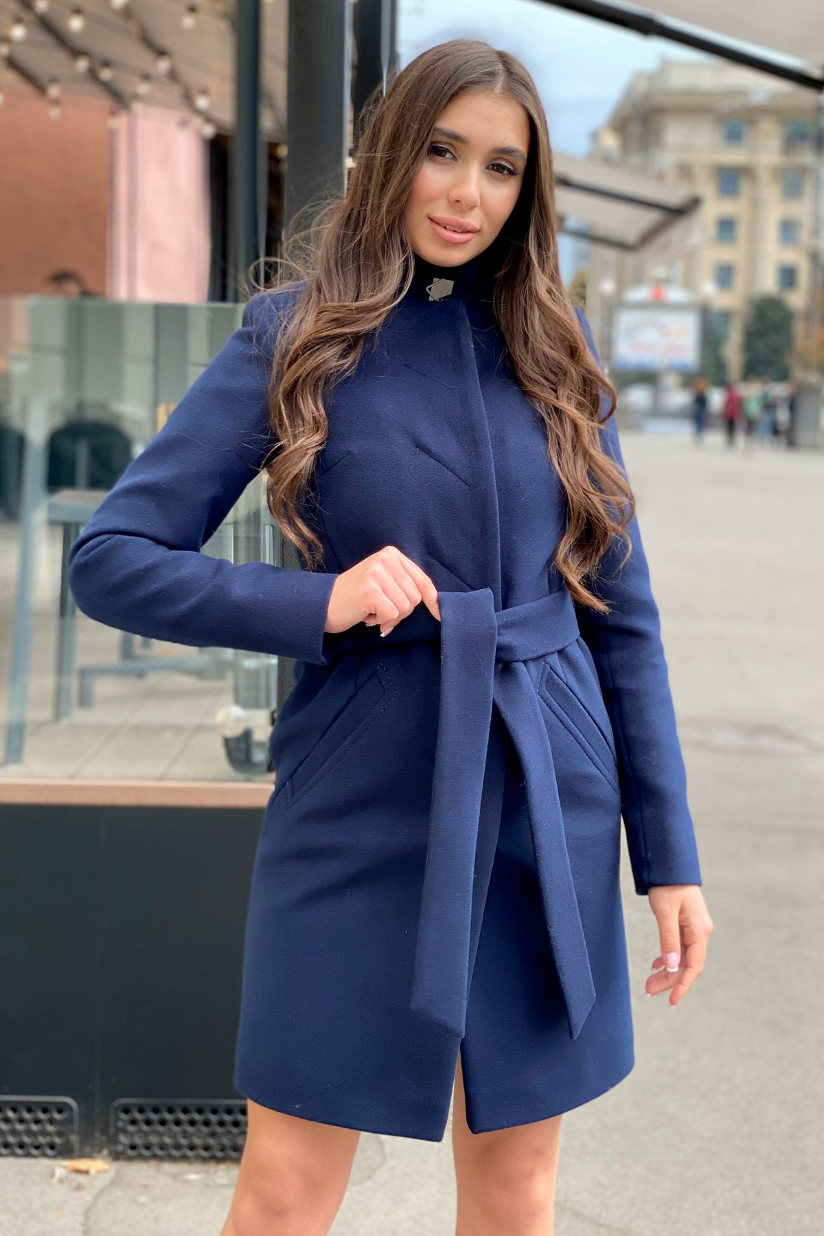 Пальто зима с хомутом Люцея 8211 АРТ. 44224 Цвет: Т.синий Н-14 - фото 7, интернет магазин tm-modus.ru