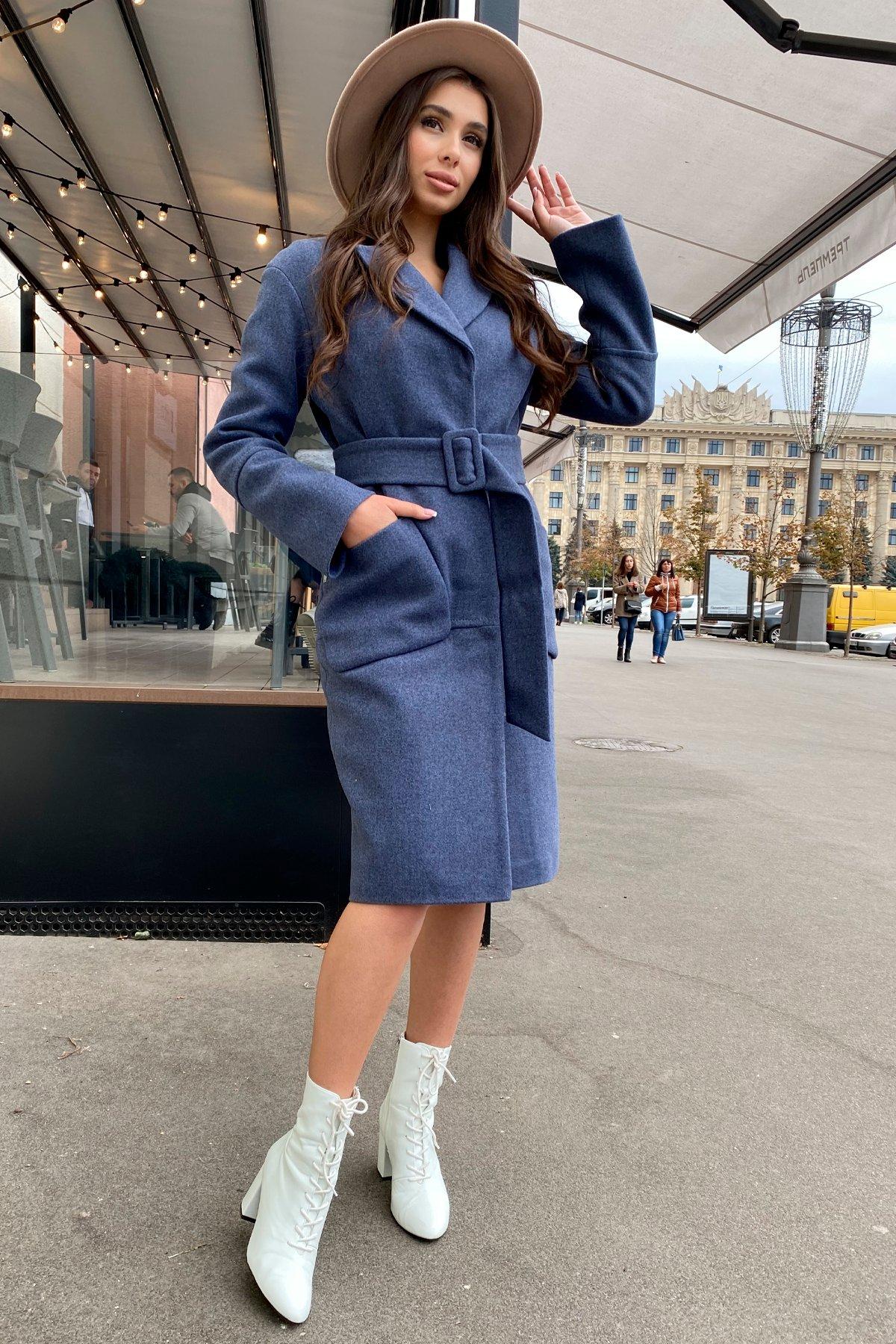 Элегантное зимнее пальто миди длины с накладными карманами Флорида 8138 АРТ. 44114 Цвет: Джинс тёмно-синий - фото 3, интернет магазин tm-modus.ru