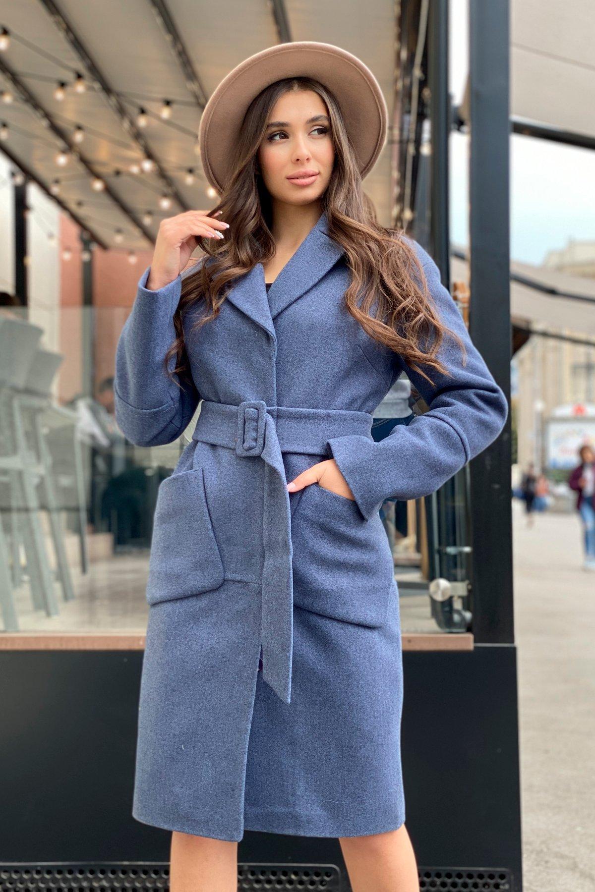 Элегантное зимнее пальто миди длины с накладными карманами Флорида 8138 АРТ. 44114 Цвет: Джинс тёмно-синий - фото 9, интернет магазин tm-modus.ru