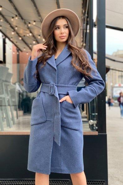 Элегантное зимнее пальто миди длины с накладными карманами Флорида 8138 Цвет: Джинс тёмно-синий