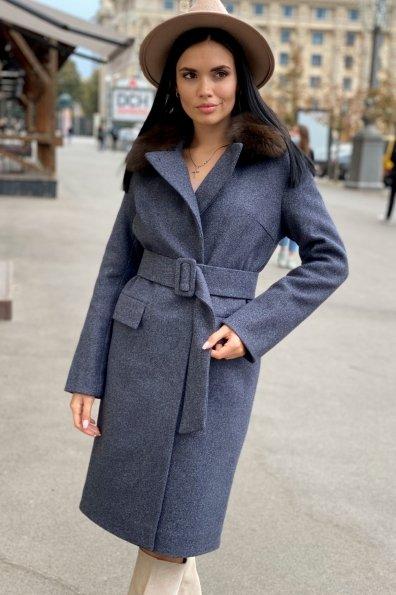 Зимнее пальто с меховым воротником Моле 8185 Цвет: Т.синий 543