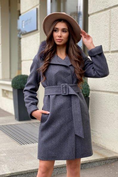Полуприталенное зимнее пальто серых тонов Лизи 8170 Цвет: Т.синий 543
